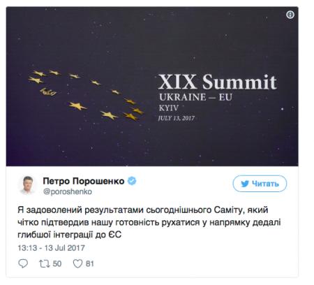 Порошенко доволен результатами саммита Украина-ЕС